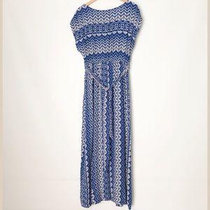 ModCloth Blue/Gray Patterned Maxi Dress - L